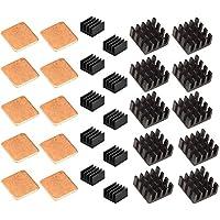 Esycargo Raspberry Pi disipador de calor 30 piezas negro aluminio y cobre para Raspberry Pi 3B+, 3B, Pi 2, Pi modelo B +