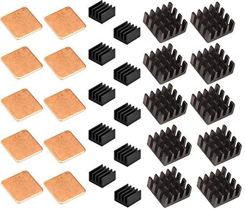Easycargo Raspberry Pi Kühlkörper-Set Aluminium + Kupfer + 3 M 8810 Kühler Wärmeleitkleber Klebeband für Raspberry Pi 3, Pi 2, Pi Modell B + 30 Pcs Black (30pcs) (Computer Raspberry Pi 2)