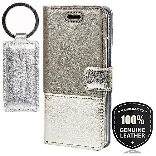 SURAZO Pearl Grau/Gold - Duo Premium Vintage Ledertasche Schutzhülle Wallet Case aus Echtesleder Farbe Mehrfarbig für Microsoft Lumia 950 XL