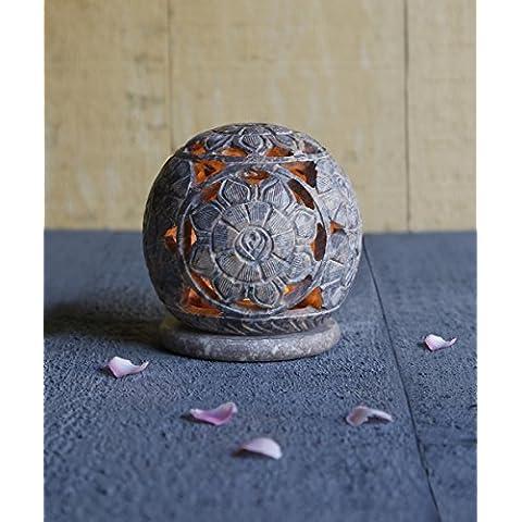 Regalos de Navidad, Te luz en forma de ovalo natural de esteatita vela votiva del sostenedor del quemador de incienso con floral grabado