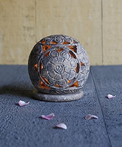 Store Indya Globe Style Votive Tea Light Holder Natural Soapstone Candleholder with Intricate Open Floral Carved Design Home Seasonal Decor