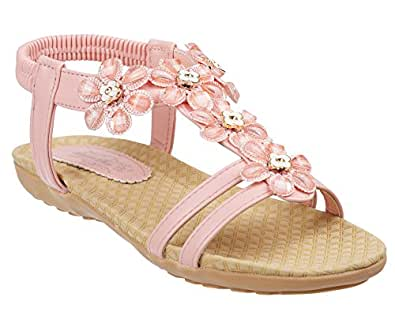Ladies Summer Flat & Slim Sole Sandals Size 4 to 8 UK DAISY DETAILED DESIGN (6 UK, Pink)