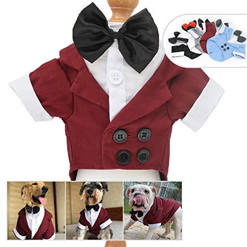 lovelonglong Hunde Schwarzer Smoking-Anzug Kostüme Party Formellen Anzug mit Schwarzer Fliege für Kleine, Mittelgroße, Großer Hunde, Bulldogge Kostüme Red-Brown - Großer Hunde Kostüm