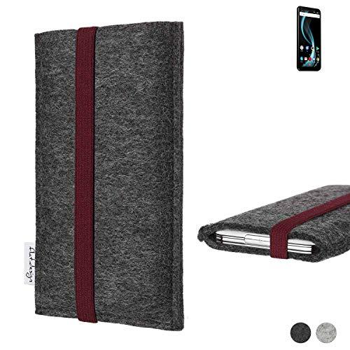 flat.design Handy Tasche Coimbra für Allview X4 Soul Infinity Plus - Schutz Case Tasche Filz Made in Germany anthrazit Bordeaux