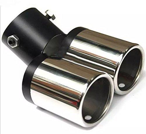 Goliton® Automobil Auspuffrohre Zweirohr Endrohre 6363 Car Schalldämpfer Geändert Auspuff Endrohre - Silber