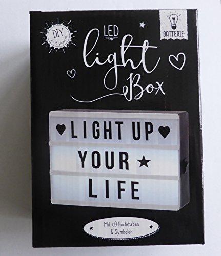 Lichtbox mit Led Mit Buchstaben & Symbole in A6 - Individuell gestalbare Lightbox- Kino Box - Vintage - Leuchtschild - Leuchtbox - Leuchtkasten - Letter Board - Damen - Herren- Jungs-Mädchen