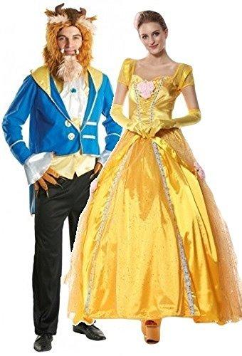 Da uomo e da donna coppia di lungo Belle la bella e la bestia costumi e feste in maschera taglia