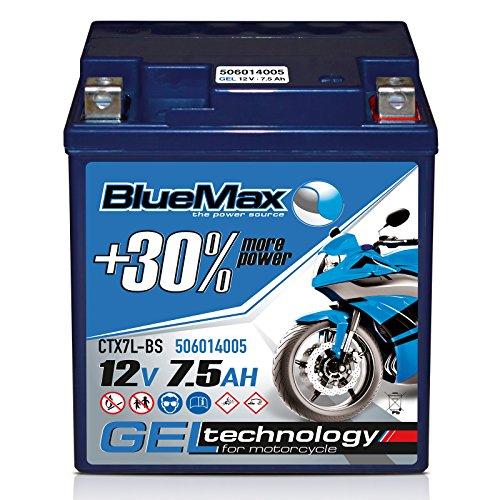 Motorradbatterie 12 V/7,5 Ah - 80 A/EN CTX7L-BS GEL 50614 BlueMax YTX7L-BS