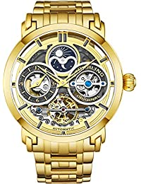 Stührling Original Mens Watch Stainless Steel Automatic, Skeleton Dial, Dual Time, AM/PM Sun Moon, Stainless Steel Bracelet, 371B Watches for Men Series (Gold)