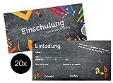 TK Gruppe Timo Klingler 20x Einladungskarten Einschulung Karten Schulanfang Schuleinführung Einladung Din Lang 1.Schultag Schulbeginn Schule Erster Schultag für Kinder Junge und Mädchen,