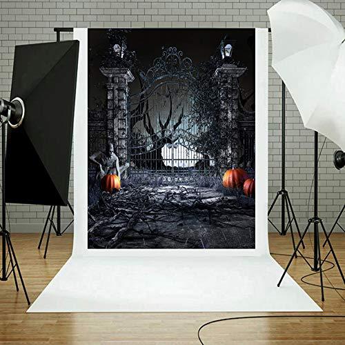 TAOtTAO Halloween Kulissen Kürbis Vinyl 3x5FT Laterne Hintergrund Fotografie Studio ()