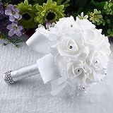huichang Brautstrauß Blumenstrauß Romantische Hochzeit Bunte Künstliche Hochzeitsstrauß Kunstblumen Rosen Blumen Strass Perlen Hochzeit Dekoration (Weiß)
