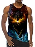 Loveternal Mens Galaxy Wolf Tank Top 3D Digital Vests Summer Casual Cool Sleeveless Tees L