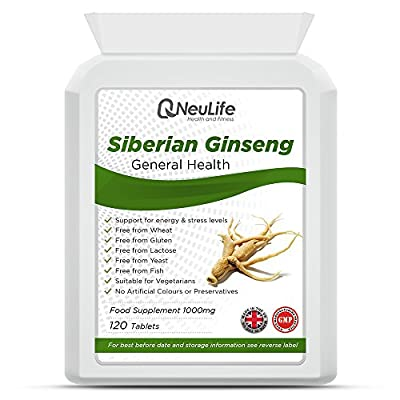 Siberian Ginseng 1000mg - 120 Tablets - by Neulife Health and Fitness by Neulife Health and Fitness