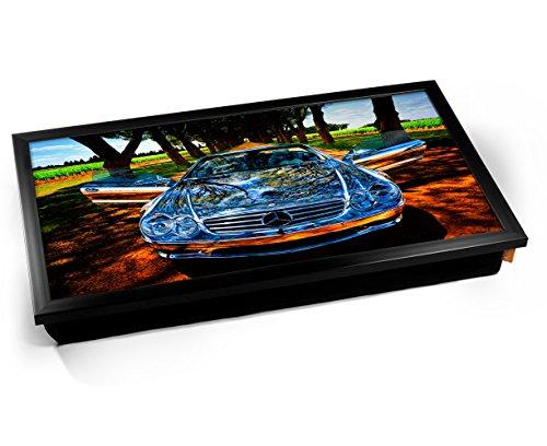 Silver Mercedes Cushioned Bean Bag Laptop Lap Tray Desk - Built-in EMF Shield (Electro Magnetic Field) Kissen Tablett Knietablett Kissentablett - Schwarzer Rahmen