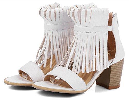 YCMDM Womens Artificial Pu High Heel Breathable Rome Rétro Bouche de poisson Sandales Sandales Fête Soirée Mariage Mariée beige