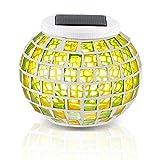 Redlution Solar Tischleuchte RGB Farbwechsel LED Solarlampe Nachtlicht Mosaik Lampe Wasserdichte Solar Leuchte für Garten, Patio, Tabelle, Zimmer (Grün&Gelb)