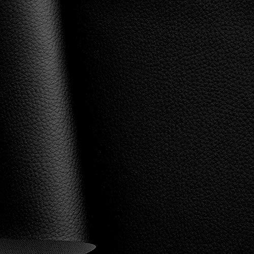 TOLKO Kunstleder Polsterstoff Meterware als Robuster Premium Bezugstoff/Möbelstoff zum Nähen und Beziehen, 140cm Breit (Schwarz)