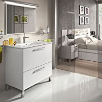 Mueble lavabo de baño o aseo con lavamanos cerámico y espejo, con marco a juego incluido, puerta abatible y cajón amortiguado color blanco brillo 80x80x45