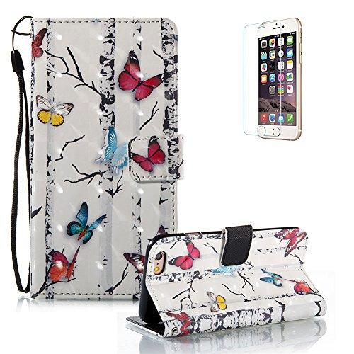 Gurt Lederhülle für iPhone 6S Plus,Premium Seil Brieftasche für iPhone 6 Plus,Funyye Stilvoll Luxuriös 3D Pariser Turm Muster PU Leder Zubehör im Bookstyle Schale mit Ständer Standfunktion Etui Karten Color-05