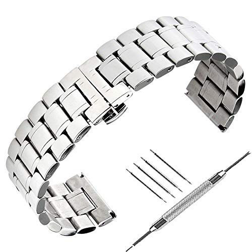Uhrenarmband, 22 mm, massives Edelstahl, Weiß, Schnellverschluss, 2,2 cm - Tissot Uhrenarmband Edelstahl