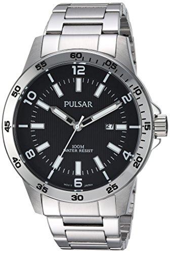 Pulsar Herren Armbanduhr Quarz Edelstahl Kleid, Farbe: silberfarbene (Modell: ph9101X) (Uhren Kleid Herren Seiko)