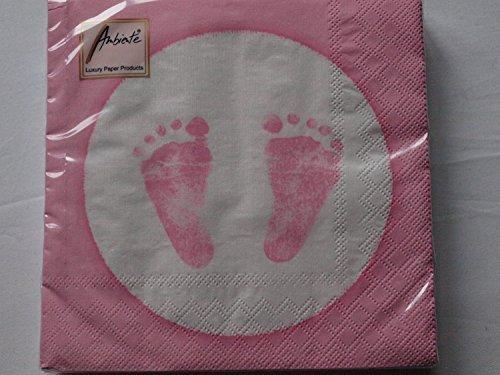 20 Servietten Baby Steps Girl Babyfüße rosa für Taufe + Geburt - 25x25cm