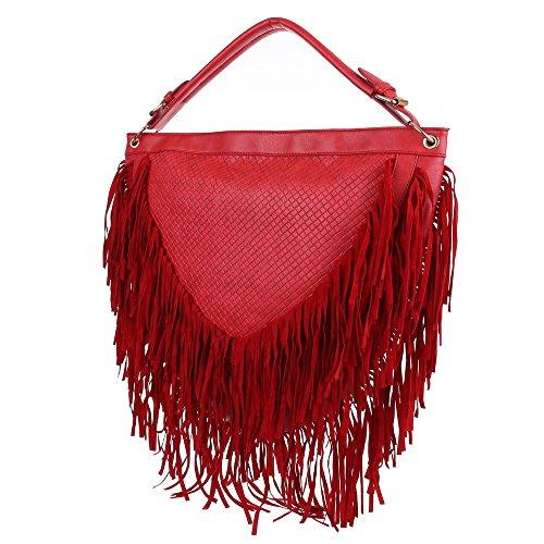 Damen Tasche, Große Schultertasche Mit Fransen, Kunstleder, TA-A1086 Rot