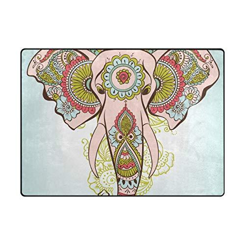 LUPINZ Teppich, Elefant auf dem Henna, indisches Muster, rechteckig, für den Eingangsbereich, hält Ihren Teppich an Ort und Stelle, ideal für rutschfeste Ecken, Polyester, 1, 63 x 48 inch - Elefanten-rechteckiger Teppich