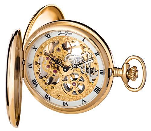 JEAN JACOT Taschenuhr - Zeitloses Accessoire für KULTIVIERTE Herren - Vergoldetes, poliertes Gehäuse mit Doppelscharnier - Inklusive Kette (Gehäuse-Ø 53 x 16 mm) - C335324 (Gold)