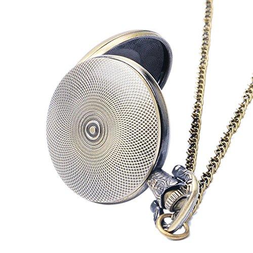 Batman Fluo Blue Logo Antik Bronze Effekt Retro/Vintage Case Herren Quarz-Taschenuhr Halskette–auf 81,3cm Zoll/80cm Kette - 4