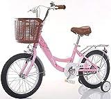 Kinder Fahrrad,Prinzessin mädchen Stützrad Mit Korb Student Bike Fahrrad 14 16 Zoll 3-10 Jahre alt-Rosa 39.4inch