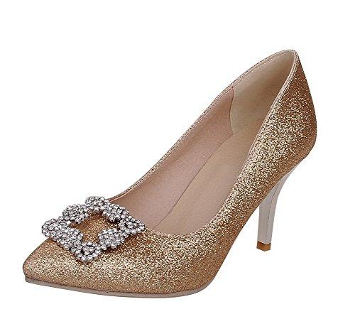 AllhqFashion Femme Tissu à Paillette Stylet Pointu Couleur Unie Tire Chaussures Légeres Doré