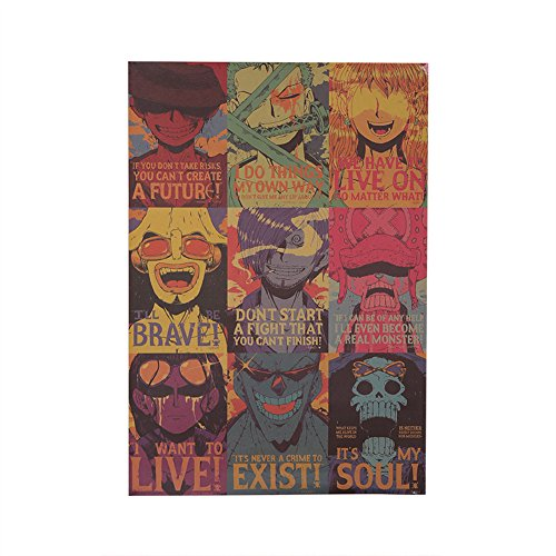 Coaste Antilane One Piece Poster / Wanddekoration / Wandaufkleber / Wandtattoo / Wandbilder, Monkey D Luffy / Sanji / Roronoa Zoro / Nami / Usopp / Tony Tony Chopper / Nico Robin / Franky / Brook, Bestes Geschenk für Kinder Jugendliche Männer und Anime-Fans