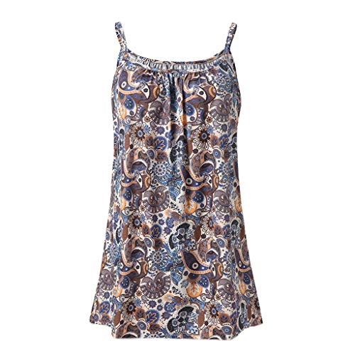 Andouy Damen - Camis Top Print - Ärmellose Weste Tank Plus Size Gr.36-52 Übergroße Laides Daily Beach Straps-Bluse(M(38),Kaffee-Eule) (Plus-size-yoga-dvd)