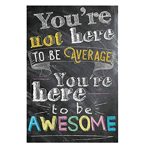 Hosaire 1x 'You Are Here to be Awesome' Póster de Tela de Seda Lamina de Pared Motivational Quote Sign Inspirational Wall Art Print Picture for Bedroom Classroom Office Decoración del Hogar 20x25cm
