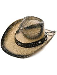 226bbe11 Comhats Unisex Western Outback Cowboy Cowgirl Hat Natural Straw Summer  Beach Sun Hat Shapeable Brim w
