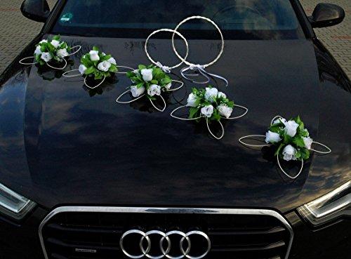 RATAN RINGE Auto Schmuck Braut Paar Rose Deko Dekoration Autoschmuck Hochzeit Car Auto Wedding Deko Ratan (Reinweiß)