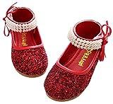 BoBo Angel Mädchen Mary Jane Halbschuhe Prinzessin Paillette Ballerina mit Perlen Riemchen Klettverschluss Festliche Glitzer Schuhe - Rot Größe 26