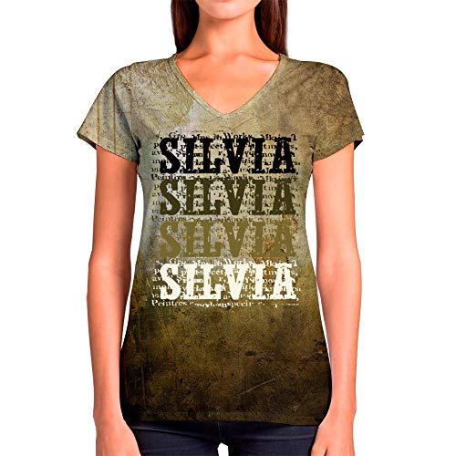 c74dc344fff37 Idakoos Silvia Retro Vintage 3D - T-Shirt Col V Femme Polyester Nouveauté  2XL