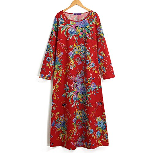 Romacci Women Vintage Cotton Linen Maxi Floral Dress Long Sleeves Pockets O Neck Plus Size Cotton Linen Loose Robe Dress, S-5XL