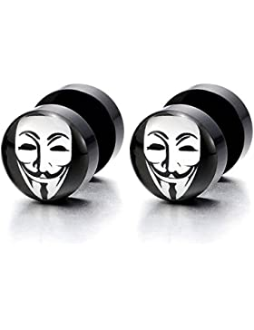 10MM Schwarz Runder Kreis Ohrstecker mit Clown Maske, Herren Damen Ohrringe Fake Plugs Cheater Tunnel Gauges Edelstahl