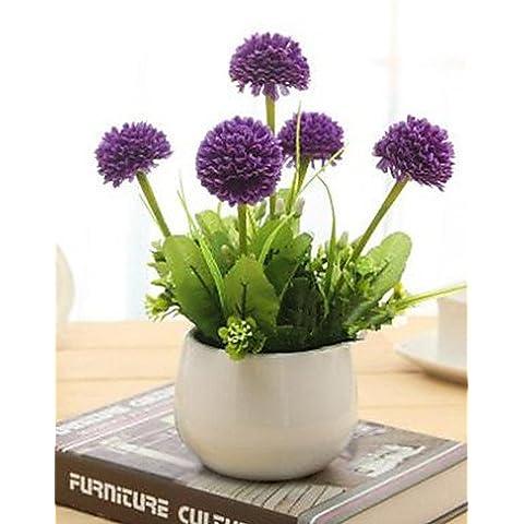 flores artificiales, hyfrangeas púrpura artificial flores con jarrón