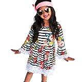 Kleid Mädchen, HUIHUI Festlich Prinzessin Party Kleid Mode Floral gestreifte Print Spitze Lange Ärmel Rock Casual Frühling Sommer Herbst Bekleidung 2-7 Jahr (140 (6-7Jahr), Weiß)