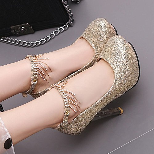 c79e4b80781817 Mee Shoes Damen high heels ankle strap Quaste Pumps Gold 0z5jxW ...