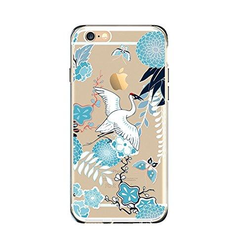 Jinberry Transparente Totem Schutzhülle für iPhone 5/5s/SE (4 Zoll) Dünne Soft TPU Premium Muster Pattern Case Handy Hülle Silikon Slim Tasche Back Cover für Apple iPhone 5/5s/SE - Kranich Kranich