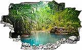 DesFoli Urwald Dschungel See Teich 3D Look Wandtattoo 70 x 115 cm Wanddurchbruch Wandbild Sticker Aufkleber C389