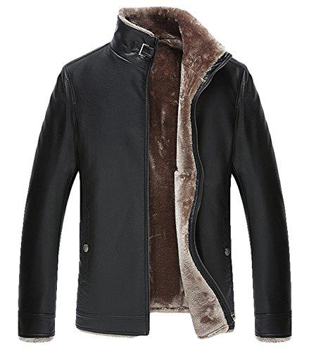 Hommes Loisir cuir veste hiver manteau Chaud Agneau La laine Doublure Noir