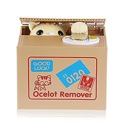 Cute Itazura Stealing Money Piggy Bank Animal Saving Box ((Multi-Choice)) - USA SELLER (Kittens Ocelot)