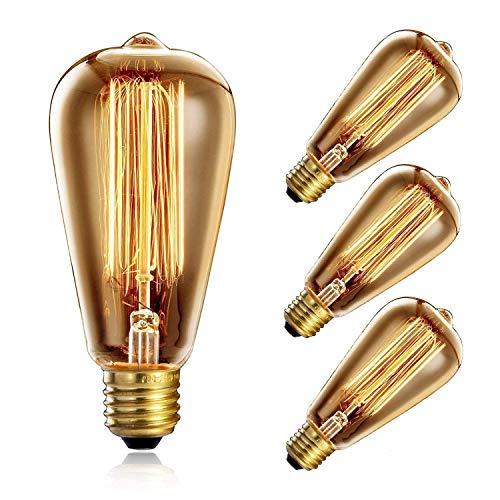 heofean 4unidades Vintage luz bombilla 60W, E27Edison Bombilla ST64bombilla Retro (estilo Retro), jaula de ardilla Filamento de Tungsteno lámpara de envejecido de cristal | 2700K